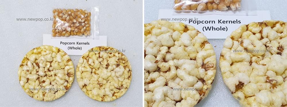 Test of SYP9002 popped cake machine by whole popcorn kernels
