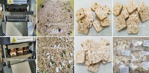 arroz integral, frijol y maíz partido por galleta de maíz máquina
