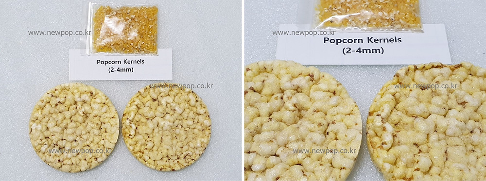Test of SYP9002 popped cake machine by popcorn kernels 2-4mm