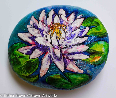 Paintings on stone: Water Lily