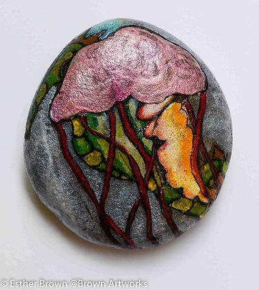 Paintings on stone: Jellyfish