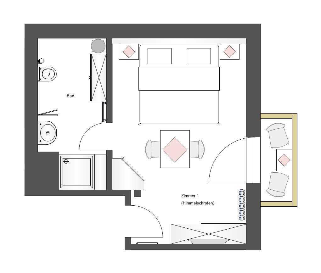 Schnitt Zimmer 1
