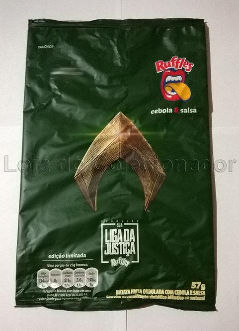 Embalagem Vazia - Batata Ruffles - Aquaman - Liga da Justiça - Coleção