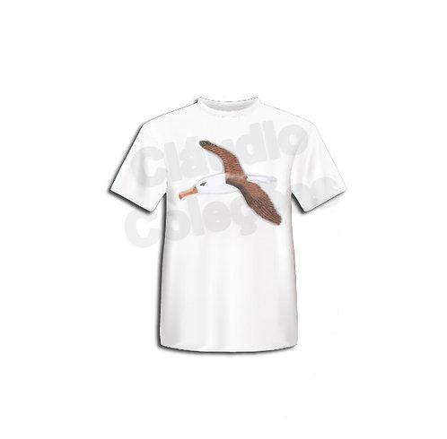 Camiseta - Albatroz Voando - Desenho a Mão-livre (Grafite) - Tamanho P