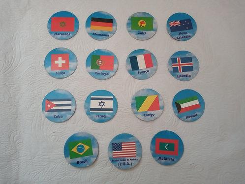 Lote com 15 Tazos Países Parmalat - Raros