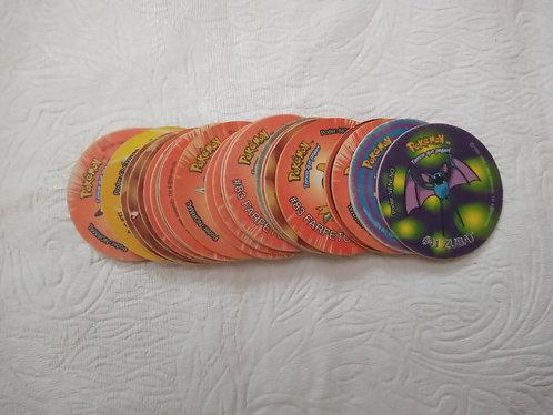 Lote especial com 25 tazos muito bons do pokémon