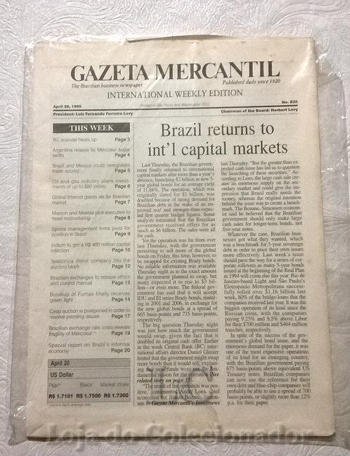 Jornal - Gazeta Mercantil - 1999 - Em Inglês - Raríssimo