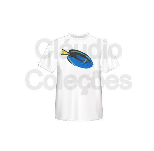 Camiseta - Peixe Azul - Desenho a Mão-livre - Tamanho P