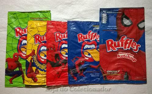 Coleção completa de Embalagens Ruffles - Homem Aranha de volta pra casa