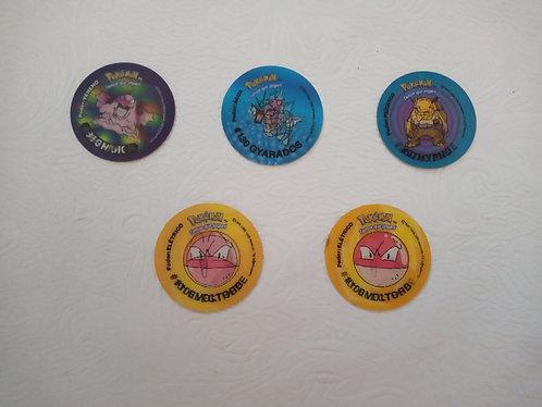 Lote com 5 Tazos Evolutazos Pokémon - Excelente Estado