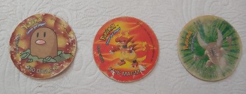 Lote com 3 Tazos do Pokémon - estado ruim