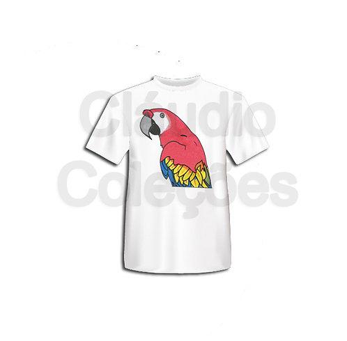 Camiseta - Arara - Desenho a Mão-livre - Tamanho GG
