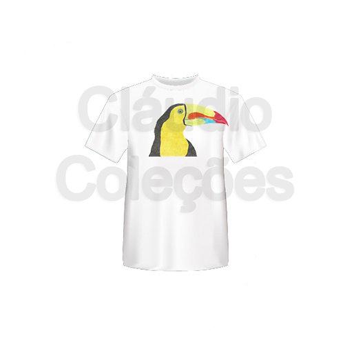 Camiseta - Tucano Colorido - Desenho a Mão-livre - Tamanho M