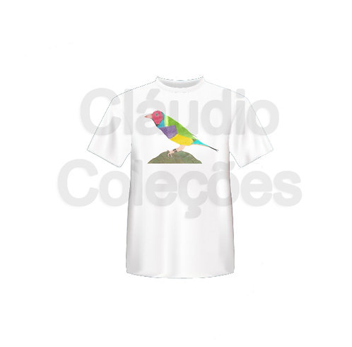 Camiseta - Pássaro - Desenho a Mão-livre - Tamanho M