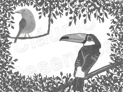 Desenho - Pássaros na Paisagem