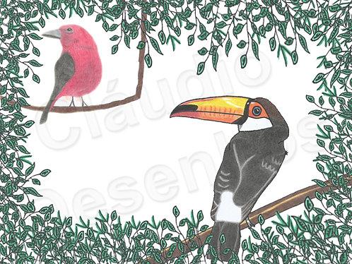 Desenho - Pássaros na Paisagem da Natureza