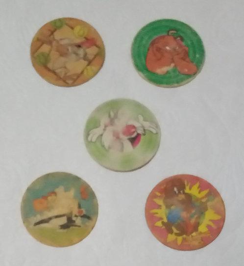 Lote com 5 tazos Looney Tunes - Condições ruins ou médias
