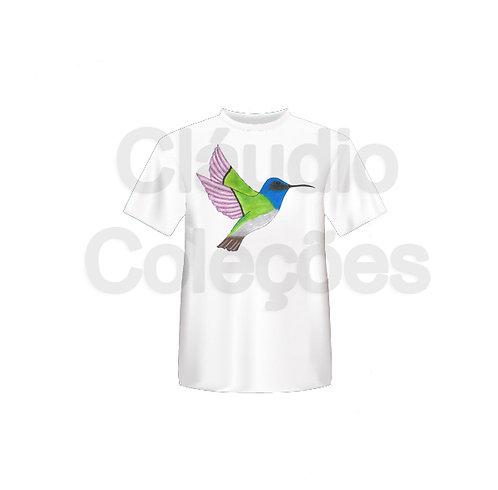 Camiseta - Beija-flor - Desenho a Mão-livre - Tamanho GG