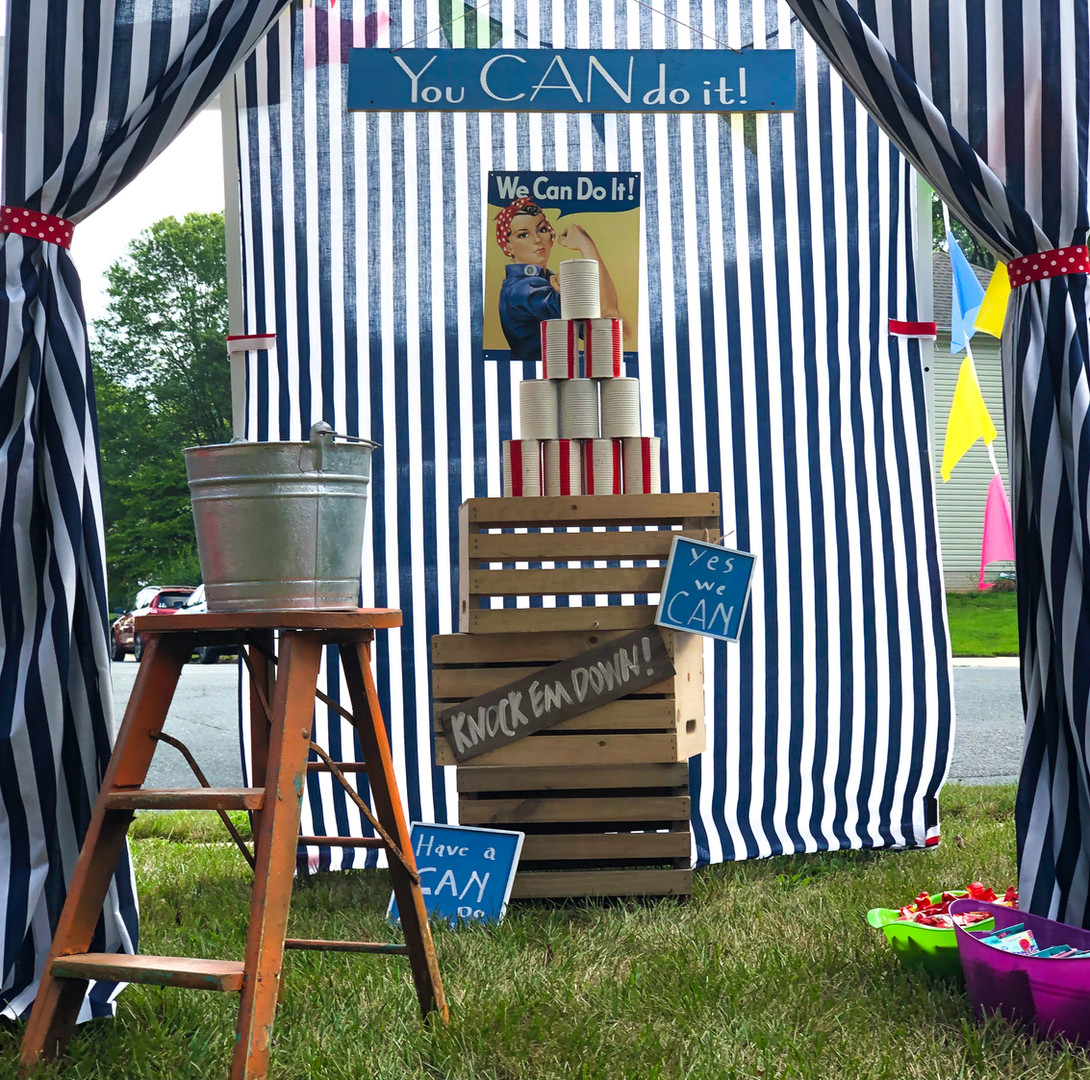 Can Toss Carnival Game in Front Yard
