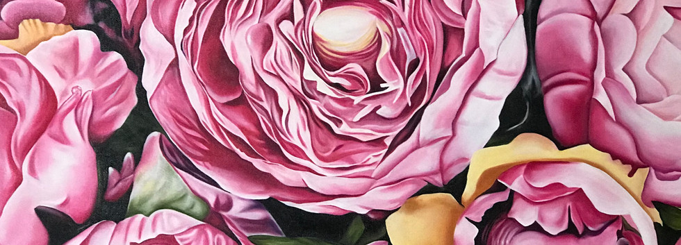 """SOLD- Peonies 18""""x36"""" Oil on Canvas"""