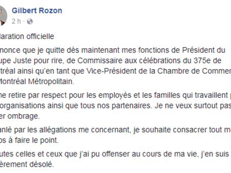 Gilbert Rozon visé par des allégations d'agression et d'inconduite sexuelles