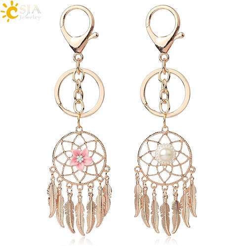 Rose Gold Color Dream Catcher Keychain