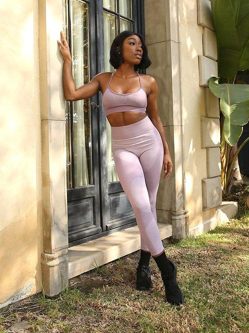 Megara Seamless Legging With Striped Panels - Purple