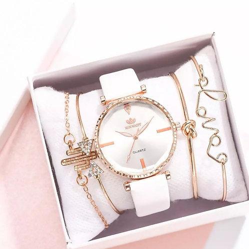 Luxury Crystal Quartz  Watch (5PC Set)