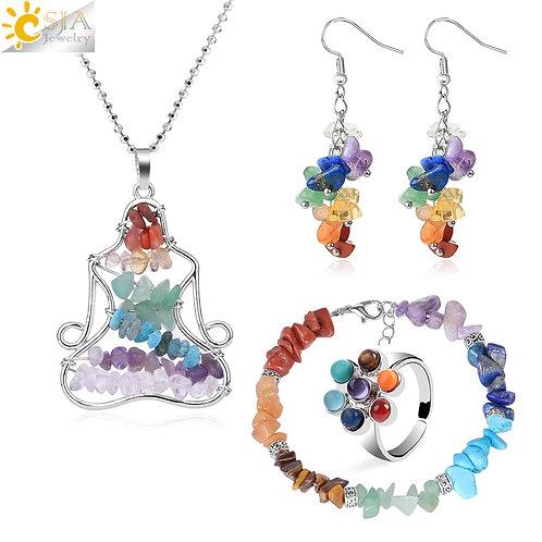 7 Chakras Meditation Necklace Gift Set
