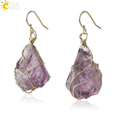 Natural Stone Drop Earrings