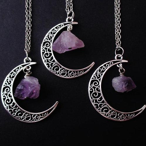 Amethyst Crystal Moon Necklace
