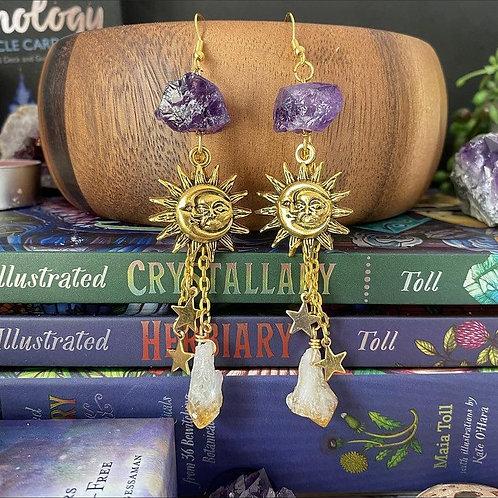 Reiki Charged, Celestial Sun and Moon Charm Earrings