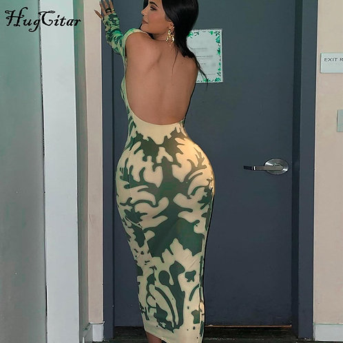2021 Long Sleeve Backless Sexy Camouflage Dress