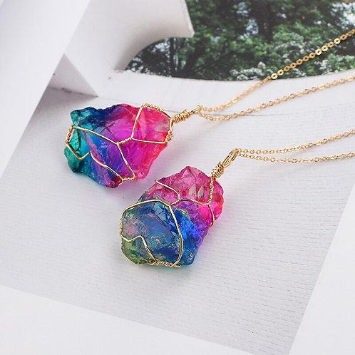 Multicolor Quartz Crystal Necklace