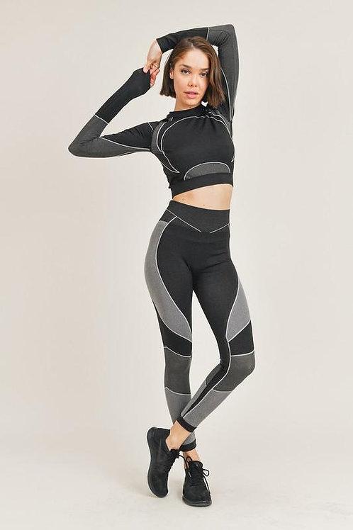 """Flex"" Crop Top and Legging Set"