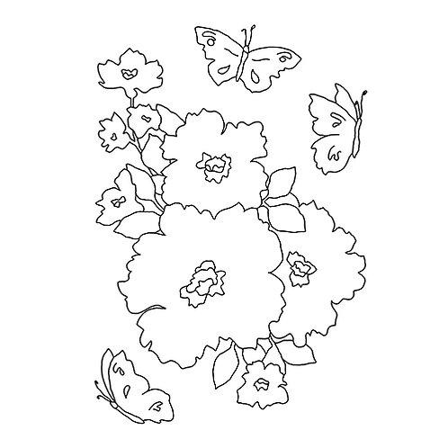 "штамп ""цветы и бабочки"""