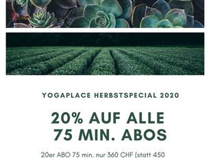 HERBSTSPECIAL 2020- 20% AUF 75 MIN. ABOS