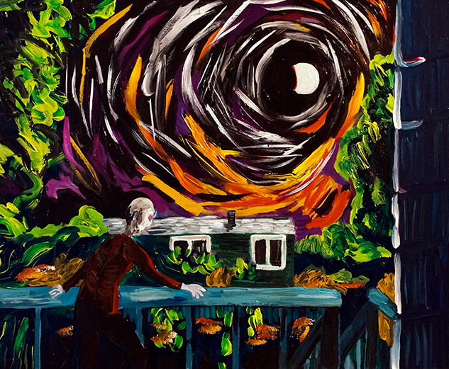 """Me on the Back Porch at the Next Blood Moon"" 2016. Acrylic on canvas, 14 x 11"""