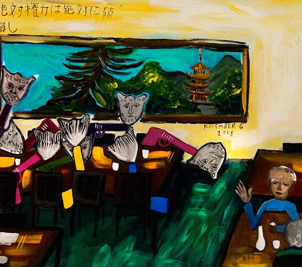 """Gee Mike, a Few Minutes Ago There Were No Guns in the Steakhouse. Now There Are Eight"" 2018. Acrylic on paper, 25 x 17"""