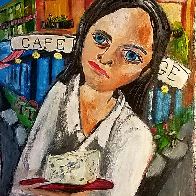 """""""Pretty French Waitress With Drop Dead Gorgeous Roquefort!"""" 2020. Acrylic on paper, 12 x 16"""""""