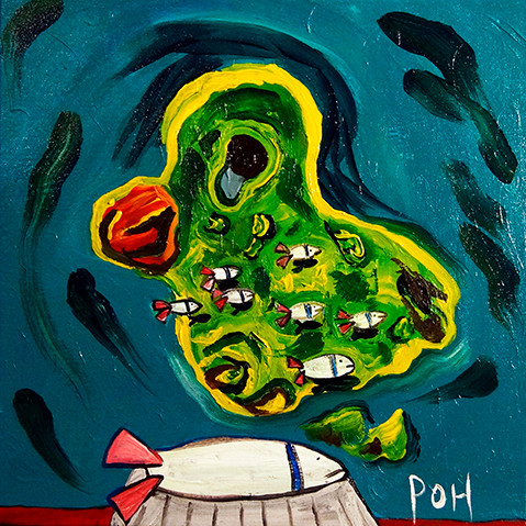 """1/1000th the Invasion of Bikini Atoll"" 2015. Acrylic on canvas, 12 x 12"""