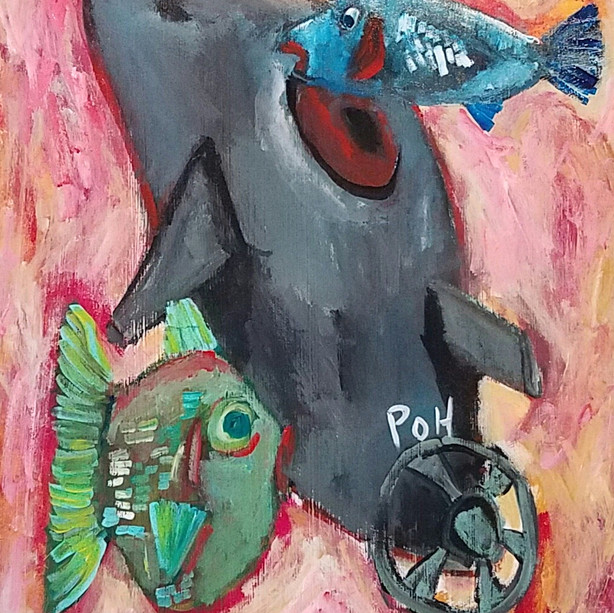 """Mousy Nuclear Submarine Hiding In the Sea"" 2020. Acrylic on paper, 11 x 14"""