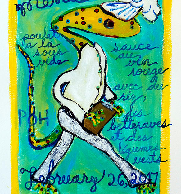 """Tonight's Menu"" 2017. Acrylic on paper, 12 x 16"""