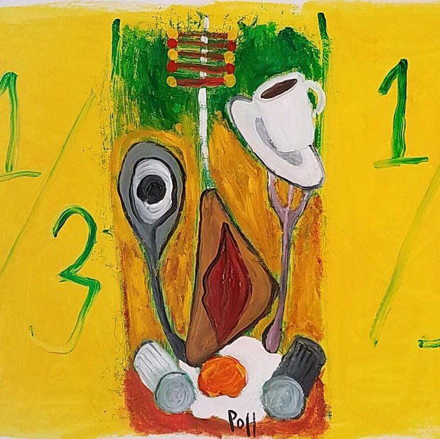 """""""I Broke the Rules For This Breakfast Alien to Keep Him Guessing"""" 2020. Acrylic on paper, 16 x 12"""""""