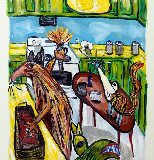 """""""Holiday Jingoes Prepare the Roast"""" 2016. Acrylic on paper, 15 x 23"""""""