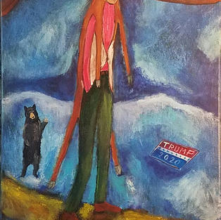 """""""If You Think These Times Are Hard Just Wait Till You Have to Wear a Deer Suit to Get Dinner"""" 2020. Acrylic on canvas, 14 x 30"""""""