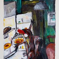 """""""Jingo Has a Midnight Peek at the Christmas Pompe"""" 2016. Acrylic on paper, 13 x 21"""""""