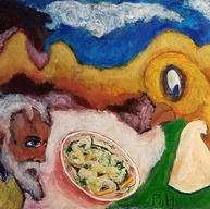 """""""The Cook, the Bird, and the Eel au Vert"""" 2020. Acrylic on paper, 20 x 16"""""""