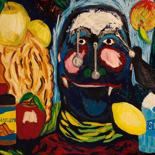 """The Bird, the Glutton, and the Apple Pie"" 2016. Acrylic on canvas, 24 x 18"""
