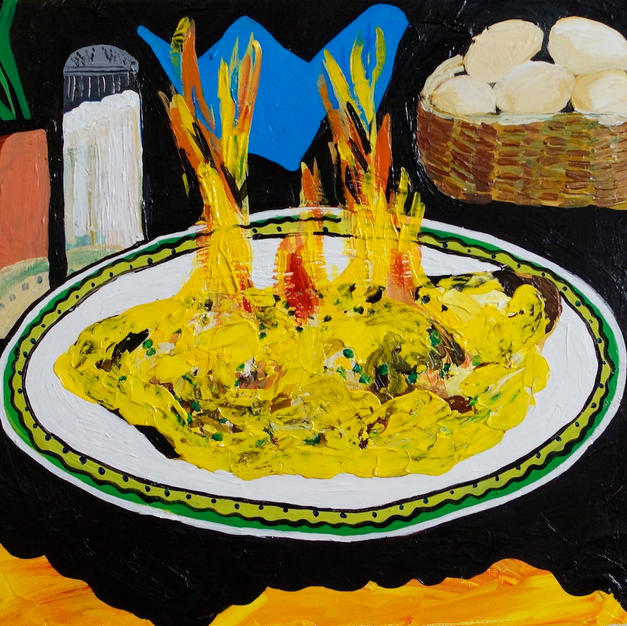 """Omelette Flambé"" 2015. Acrylic on canvas, 20 x 16"""